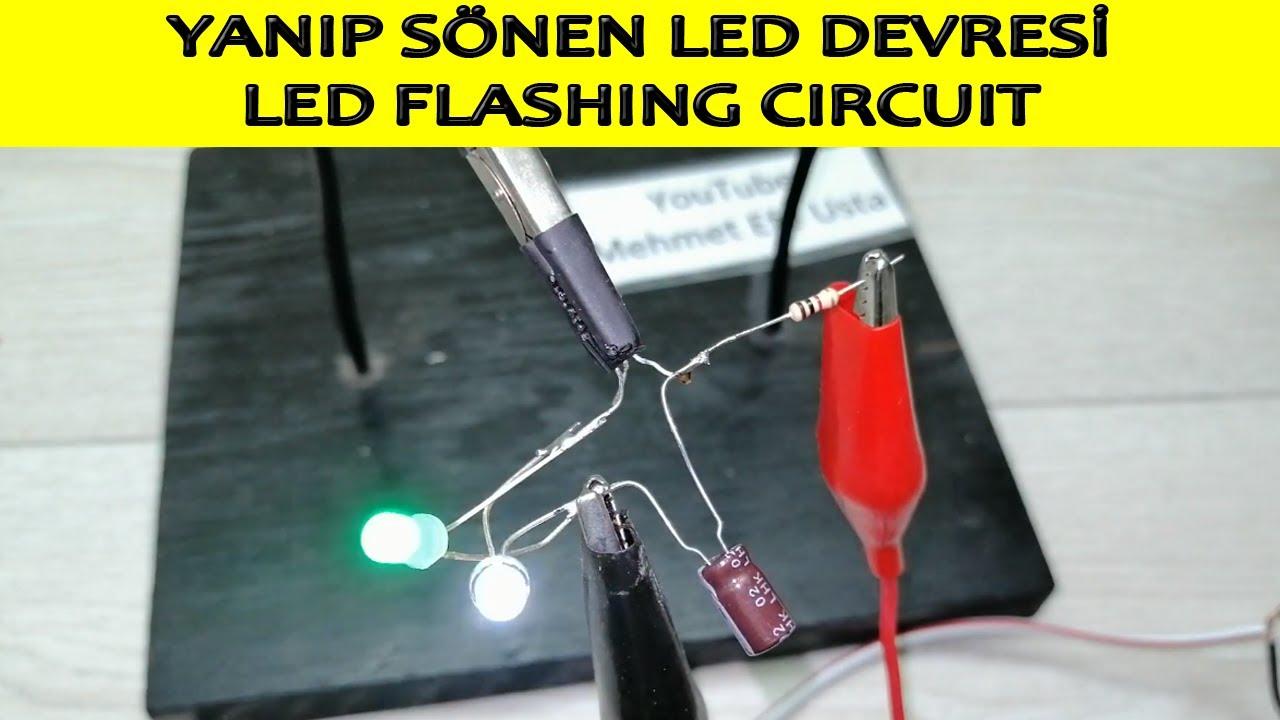Evde Yanıp Sönen Led Devresi Yapımı (kendin yap, dıy, flashing led circuit)
