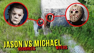 DRONE CATCHES JASON VOORHEES AND MICHAEL MYERS AT CREEPY SHED!! (TRIED STEALING OUR CAR)