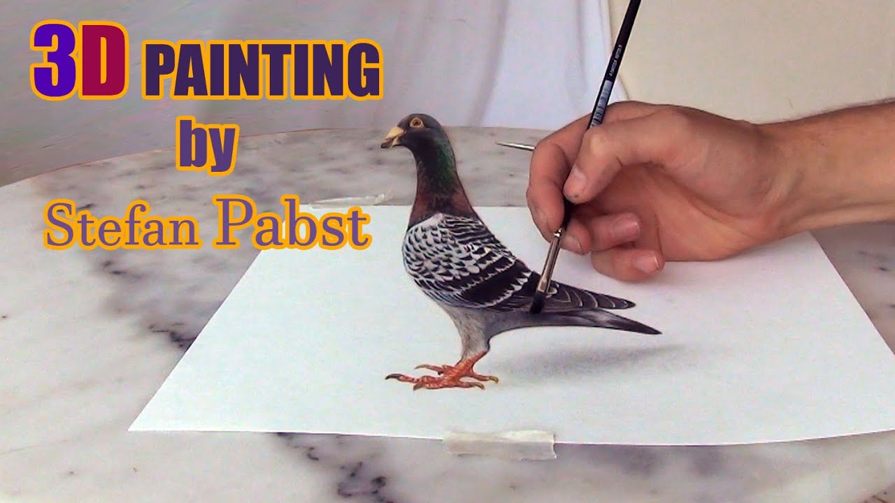 Pigeon drawing in 3d optical illusion by stefan pabst for How to paint 3d