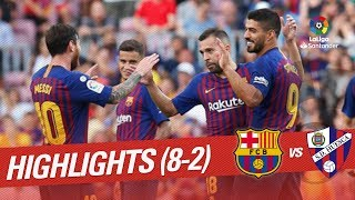 Fc barcelona grab a stunning victory against sd huesca and remain perfect in laliga santander. luis suarez messi, who scored two goals each, jordi alba, ...