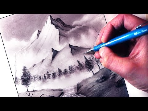 How To Draw A Mountain Stream Landscape