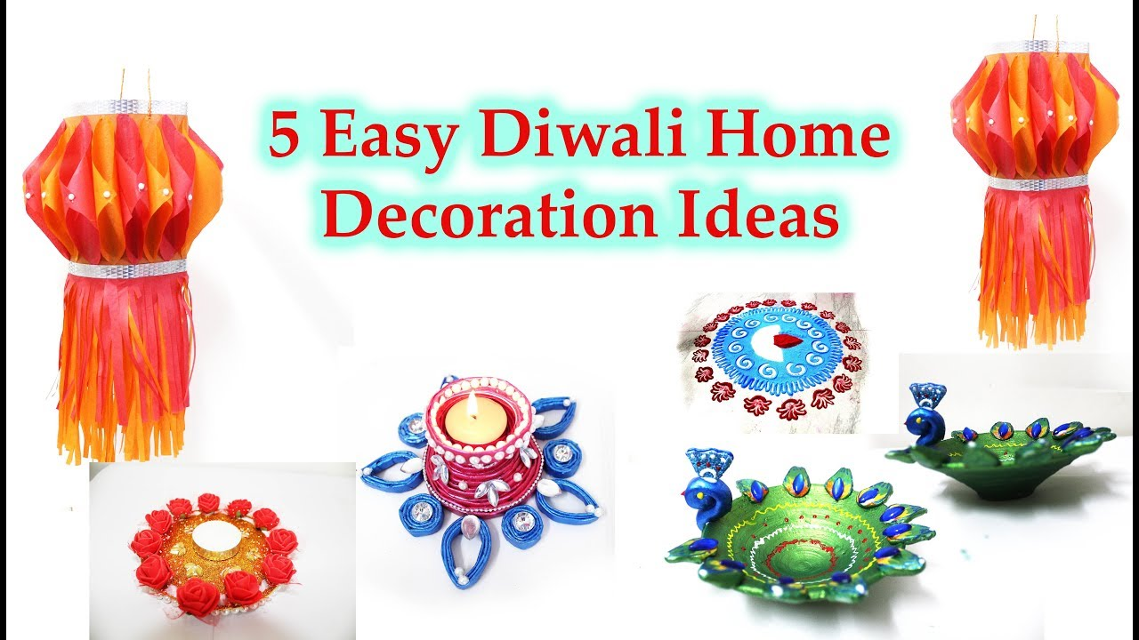 5 easy Diwali decoration idea at home 2017 | DIY Diwali home decor ...