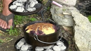 Cowboy Campfire Cooking - Cornish Hens/Succotash/Blackberry Cobbler