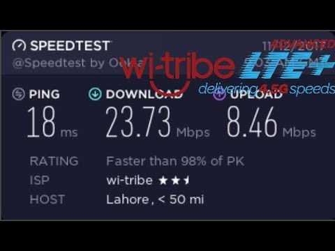 Wi-tribe LTE Advanced Speed Test In Lahore Pakistan 2019