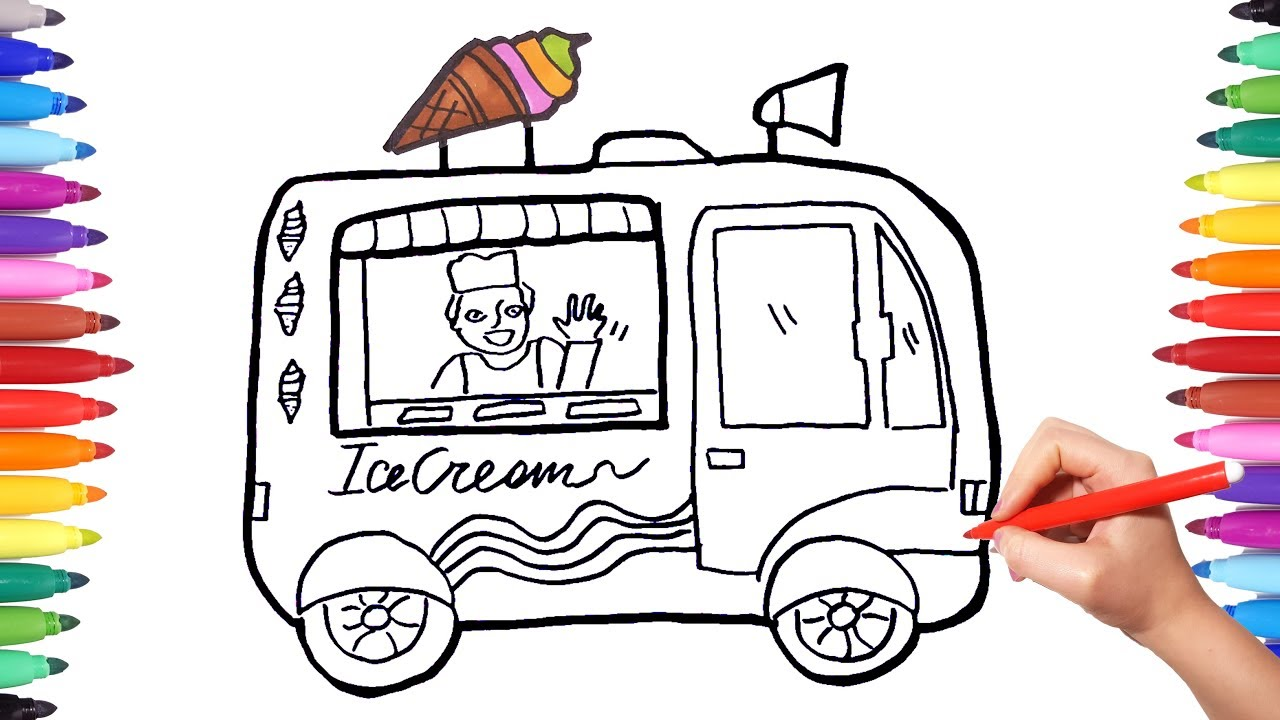 How To Draw Ice Cream Truck | Coloring Pages For Kids | Free Drawing And  Painting
