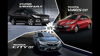 Toyota Yaris CVT vs Hyundai Verna Automatic vs Honda City CVT – Real-World Performance Compared