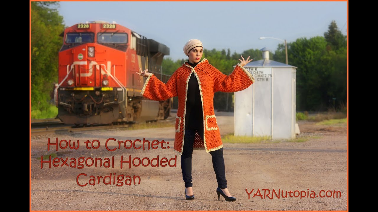 How to Crochet a Hexagonal Hooded Cardigan - YouTube