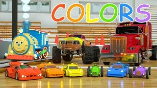Learn Colors and Race Cars with Max, Bill and Pete the Truck - TOYS (Colors and Toys for Toddlers) thumbnail