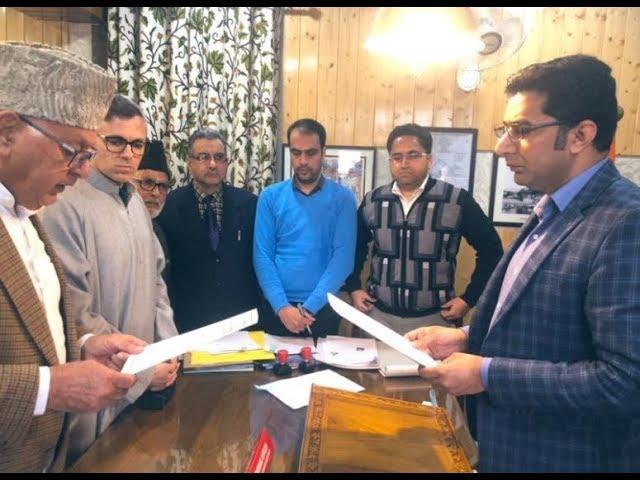 Dr.Farooq Abdullah files nomination for the Srinagar- Baramulla MP seat of Lok Sabha elections 2019