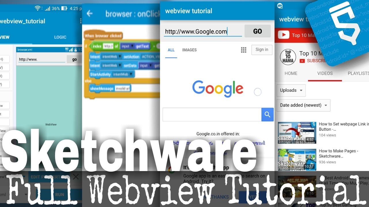 Video Webview Tutorial - Load webpages in app - Sketchware (android