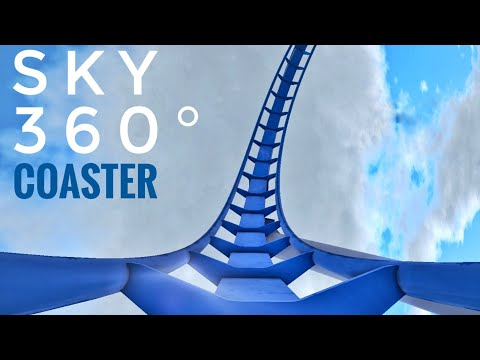 360° Blue Sky RollerCoaster Simulator for Google Cardboard [360 VR] 3D Video split screen SBS