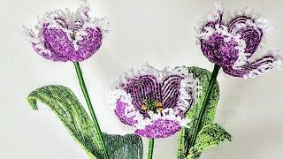 тюльпан бахромчатый бисер класс Люкс сорт Куминс Бисероплетение Цветы из бисера Beadwork tulips Art
