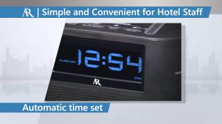 AR Hotel Clock Radio with SoundFlow ™ Wireless Audio and Universal Charging - ARC290