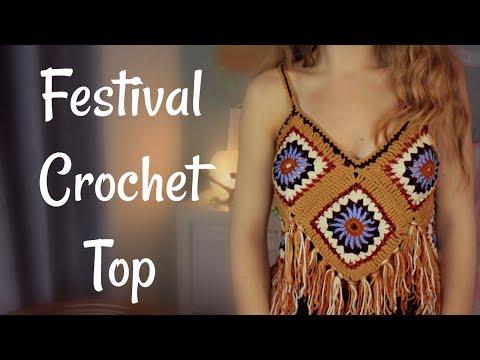 SUPER EASY Festival Crochet Top Tutorial   Granny Squares   Fringe