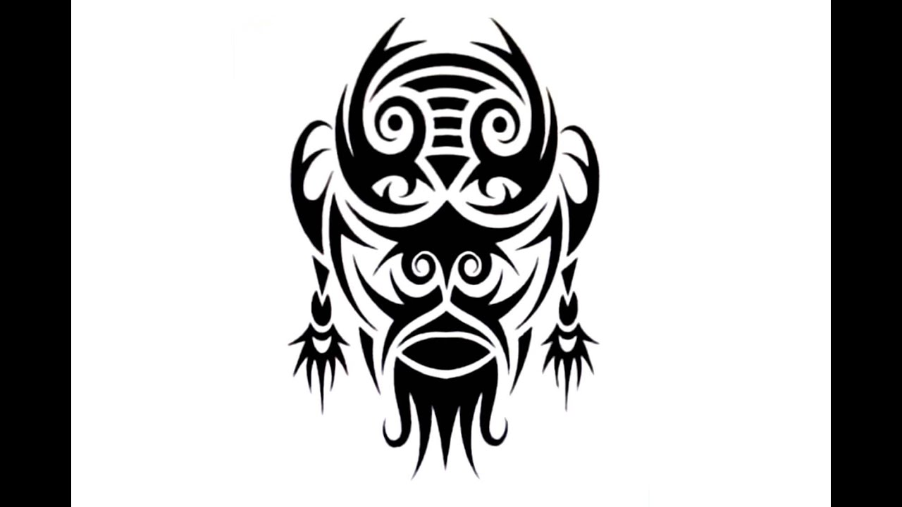 abfb00e7b1a3b How To Create a TRIBAL MASK Tattoo Design - YouTube