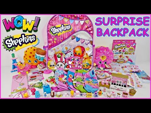 SHOPKINS SURPRISE Backpack TONS of Shopkins Toys! + Plush Shopkin Dolls