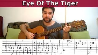 Fingerstyle Tutorial: Eye of the Tiger - Guitar Lesson w/ TAB