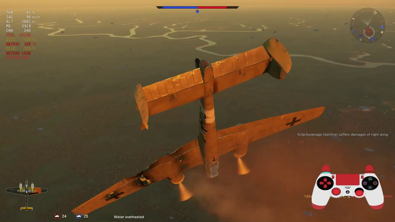 PS4RBDS4 War Thunder - BF-110 2kills spitfire hits wing recover from stall - YouTube