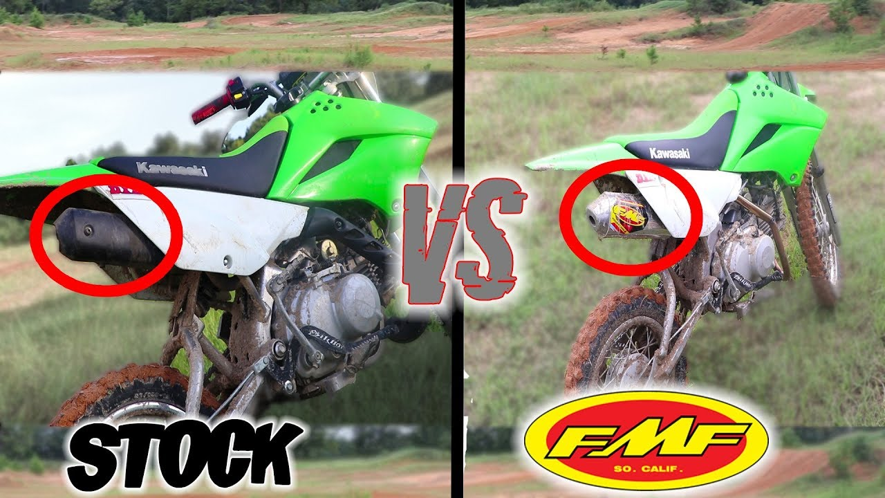 klx110 fmf vs stock exhaust test ride