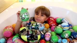 Surprise Eggs Bath - Star Wars Spider Man Toys etc
