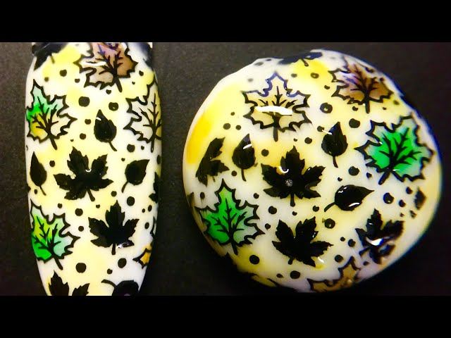 Live_ Fall leaves nail art stamping and marble gem stamping art with watercolor polish _SheModern