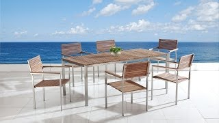 Beliani Garden Furniture - Dining Table 200x90 - 6 Chairs - Teak- Steel Table - Viareggio  - Eng