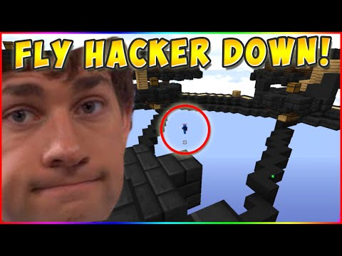 EPIC BOW SHOT ON FLY HACKER! Minecraft` Hypixel Skywars