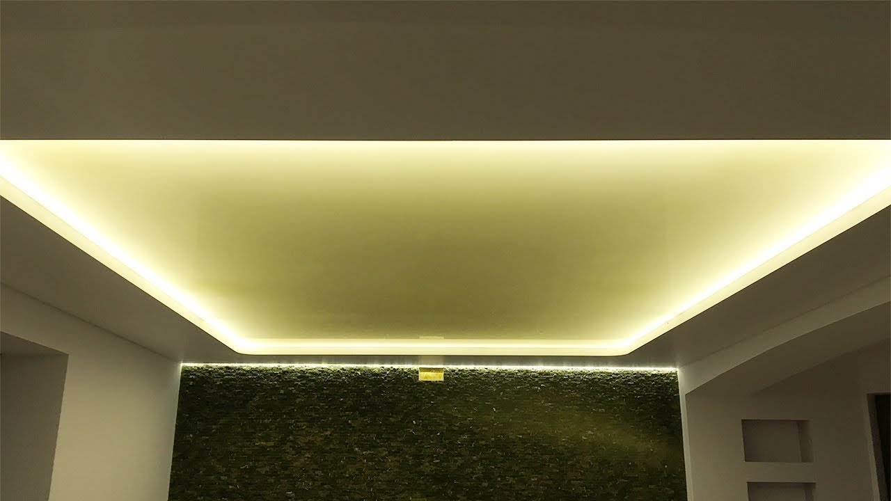 Sufit Napinay Dwupoziomowy Z Oswietleniem Led Proces Instalacji