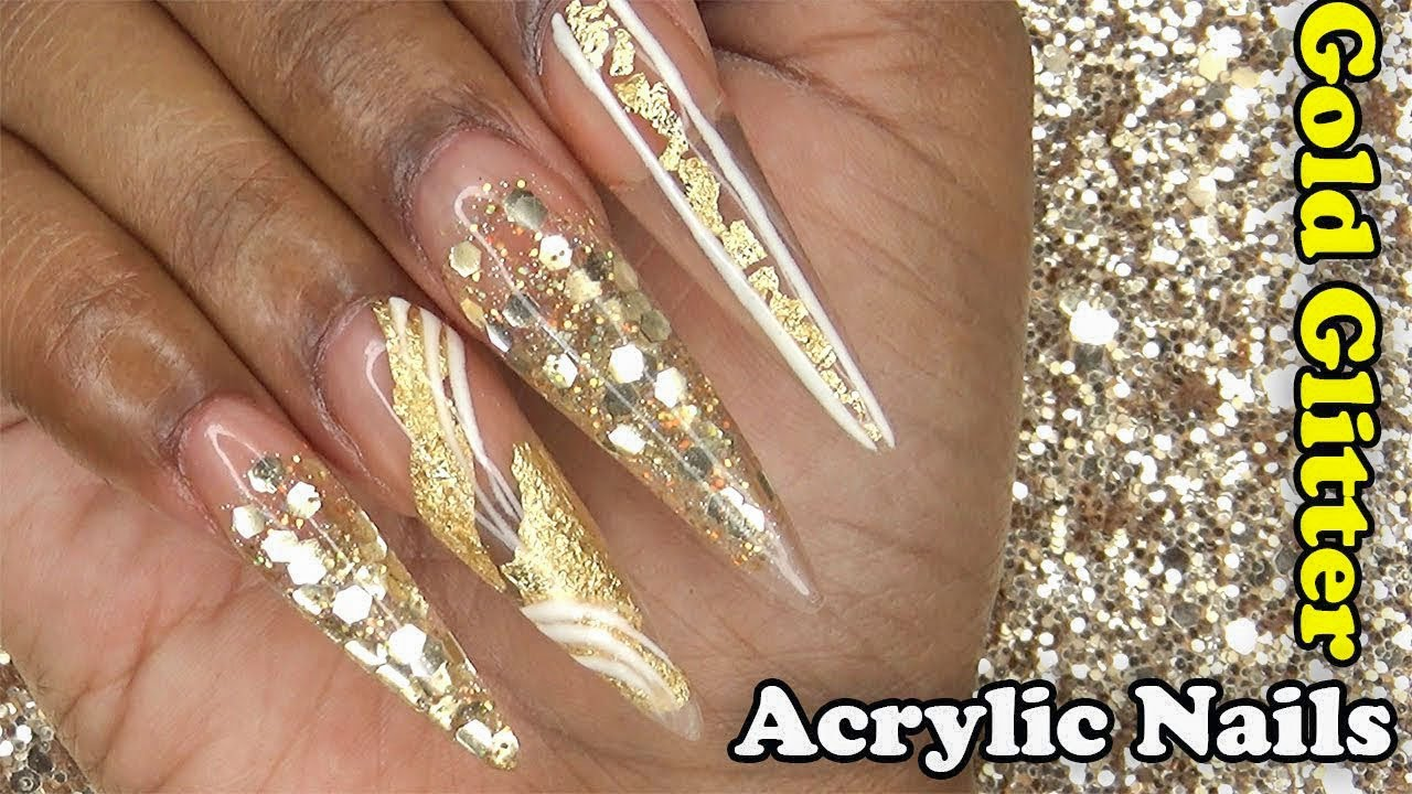 Acrylic Nails Tutorial How To Encapsulated Gold Glitter And Foil With Nail Forms
