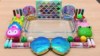 Mixing Makeup and Glitter into Clear Slime   Slime Smoothie   Satisfying Slime Videos