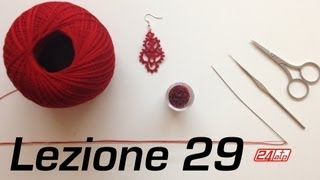 Chiacchierino Ad Ago - 29˚ Lezione Orecchino Con Perline Bijoux Tutorial Needle Tatting Knot Count