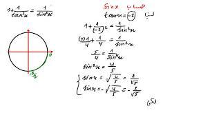 تمرين شامل حول الدائرة المثلثية للسنة الاولى ثانوي رقم 1