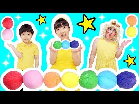 ★食べられるレインボーねんど!「おうくん楽しく粘土遊び!」★Rainbow clay can be eaten★