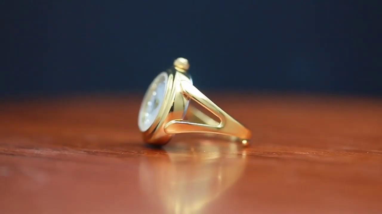 30dcf2c37279 WOMEN S FINGER RING WATCH YELLOW GOLD CASE SWAROVSKI CRYSTAL WHITE DIAL SAPPHIRE  GLASS DAVIS 4174