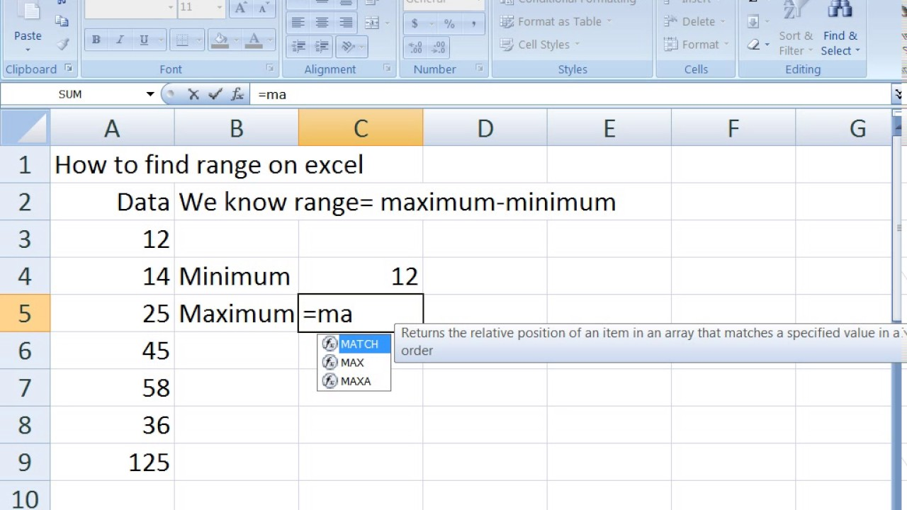 How To Find Max And Min Range In Excel