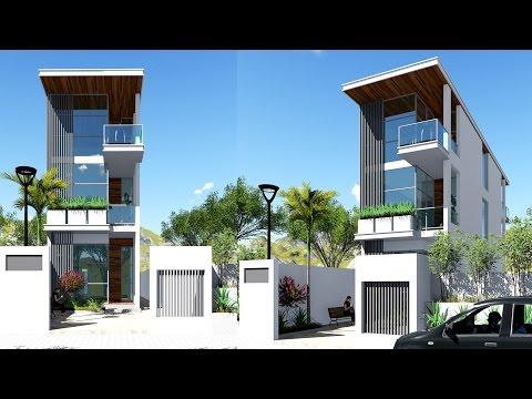 Narrow House Sketchup Exterior Modeling W4,5m N01