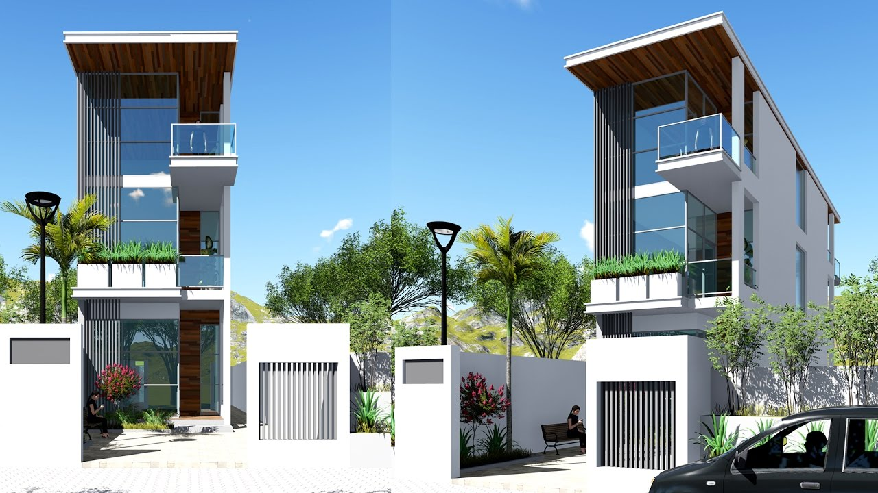Narrow House Sketchup Exterior Modeling W4 5m N01 Youtube