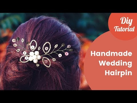 DIY Hairpin from Pearls, Sequins and Glass Beads. Wedding Hair Jewelry Ideas.