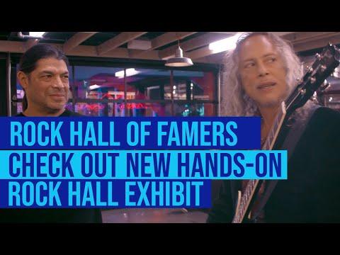Kirk Hammet, Robert Trujillo, Nancy Wilson, and Don Felder at new Rock Hall exhibit!