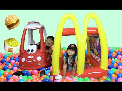 Thumbnail: McDonald's Drive-Thru Giant BALL PITS Inflatable Playland, Kids Pretend Play Prank