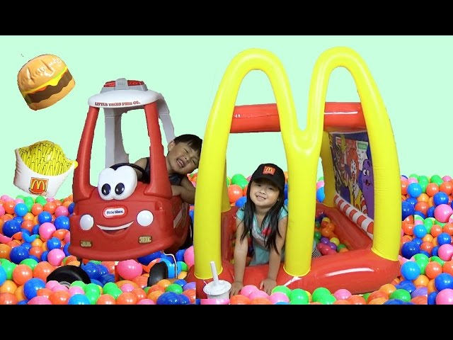 McDonald's Drive-Thru Giant BALL PITS Inflatable Playland, Kids Pretend Play Prank