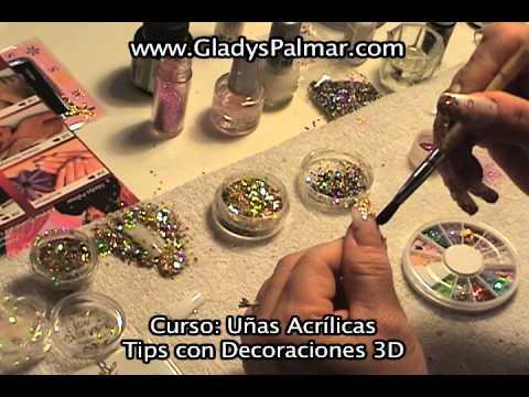 Curso u as acr licas tips 3d decoraciones youtube - Decoraciones de unas ...