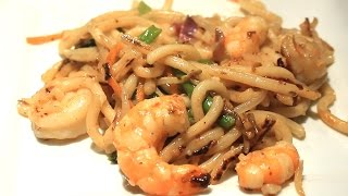Easy Shrimp Stir Fry ~ Udon Noodles ~ Japanese Noodle Dish