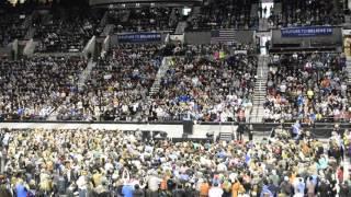 Birdy Sanders - Bird Lands on Podium during Bernie Sanders Rally in Portland, Oregon
