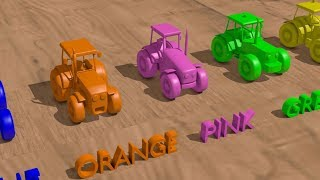 .A garage for toy Tractors. Teaching colors in English for children - Movies for Kids | Toys are fun
