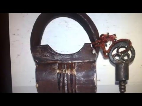 EBAY - 1760's Antique Indian Old Iron Tricky Hand Forged Rare Lock & Key Working