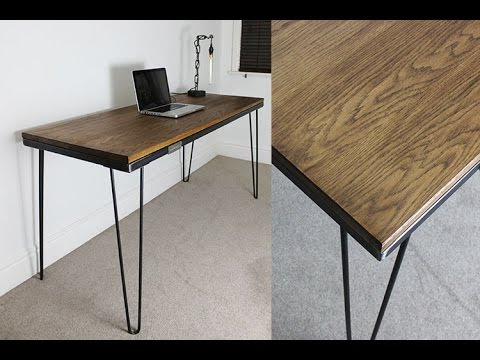 industrial desk with hairpin legs youtube. Black Bedroom Furniture Sets. Home Design Ideas