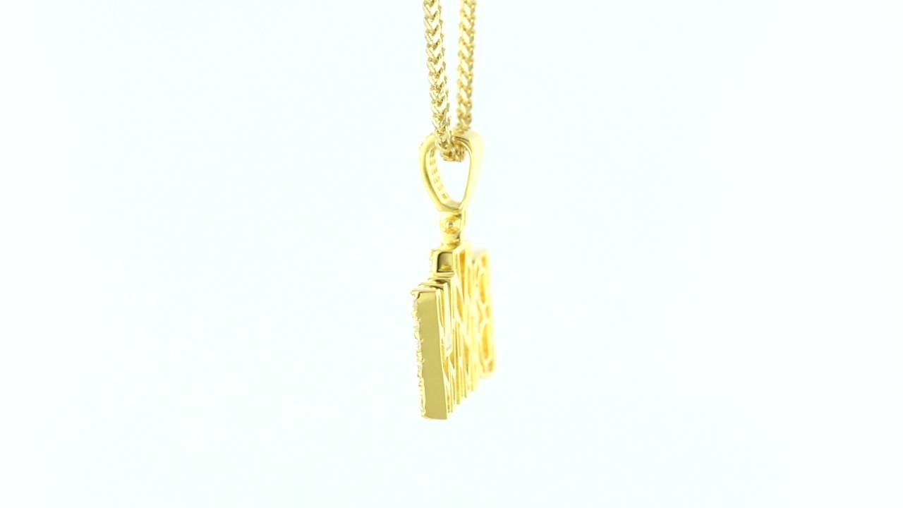 Stylish BMW Initials Yellow Gold Solitaire Diamonds Iced Out Custom Pendant