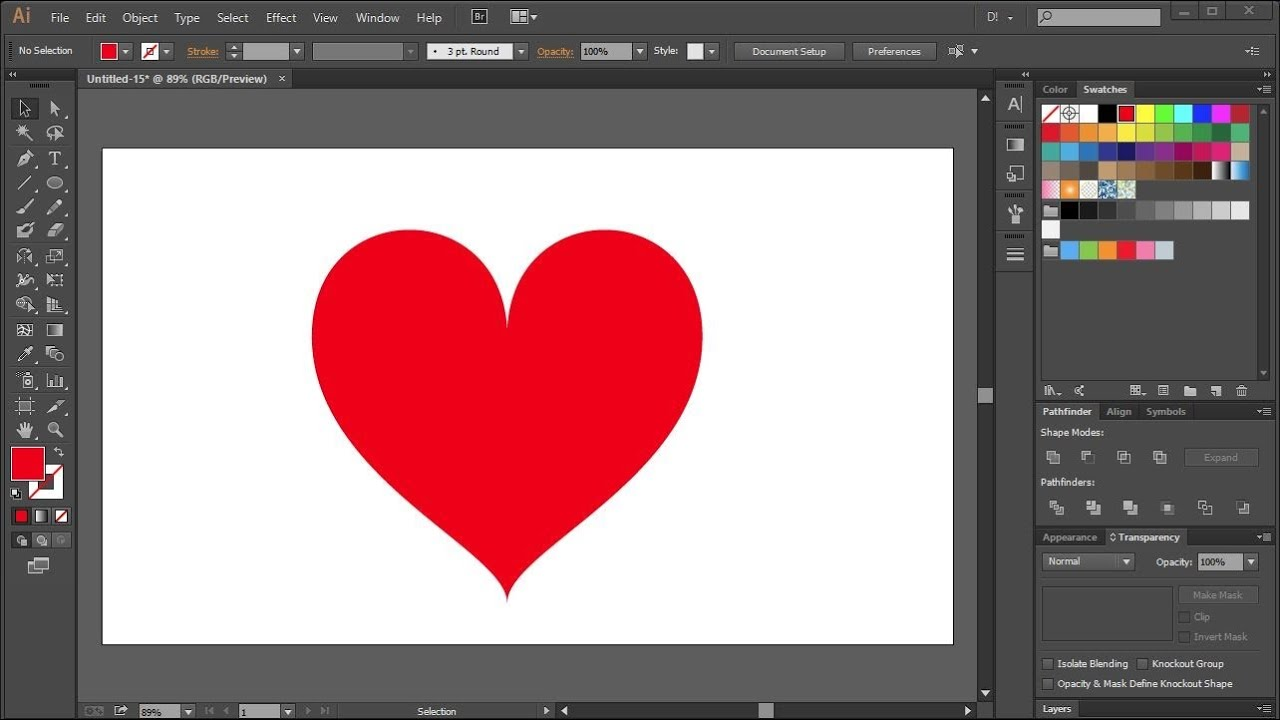 How To Draw A Heart In Adobe Illustrator Youtube