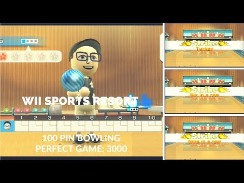 Wii Sports Resort - 100 Pin Bowling - Perfect Game 3000 (No Secret Strikes)